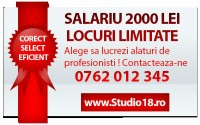 Salariu fix 2000 LEI + comision vanzari.Aplica  http://www.studio18.ro