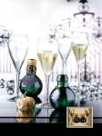 Set sampanie Gala, format din 2 pahare din sticla si 2 sampanii